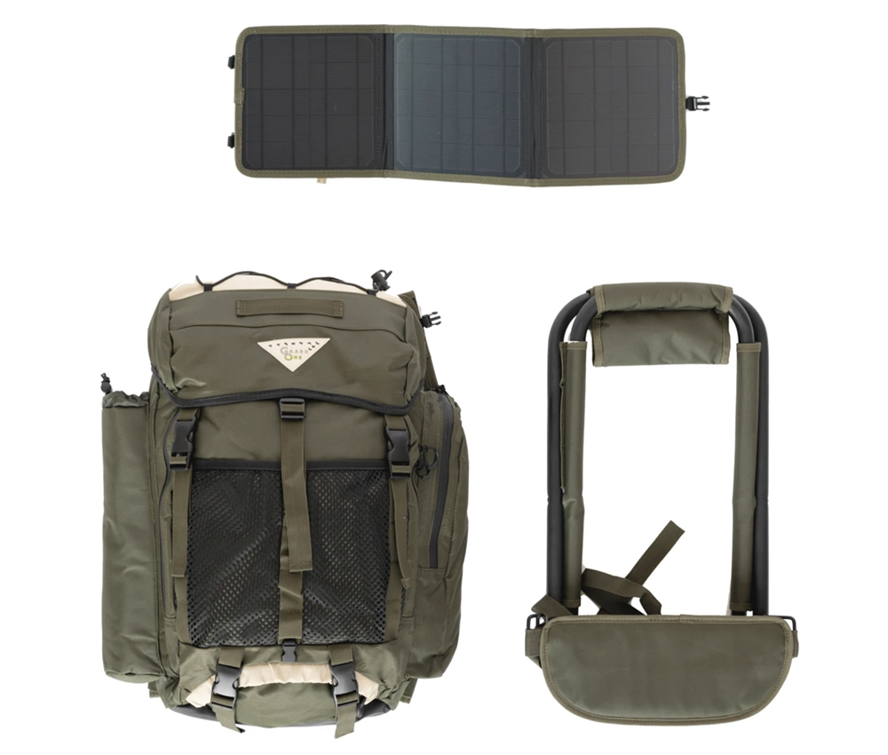 Solar Powered Backpack with Detachable Solar Panel and Stool